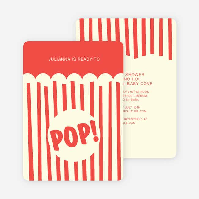Movie Night and Popcorn Party Invitations - Red