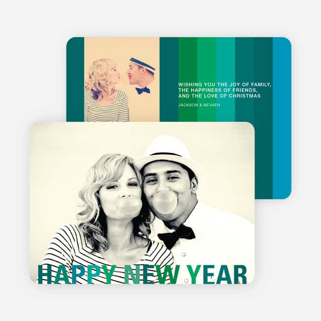 New Year's Stripes Photo Cards - Green