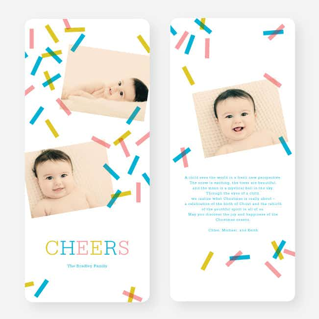 Sprinkles, Confetti Holiday Cards - Blue
