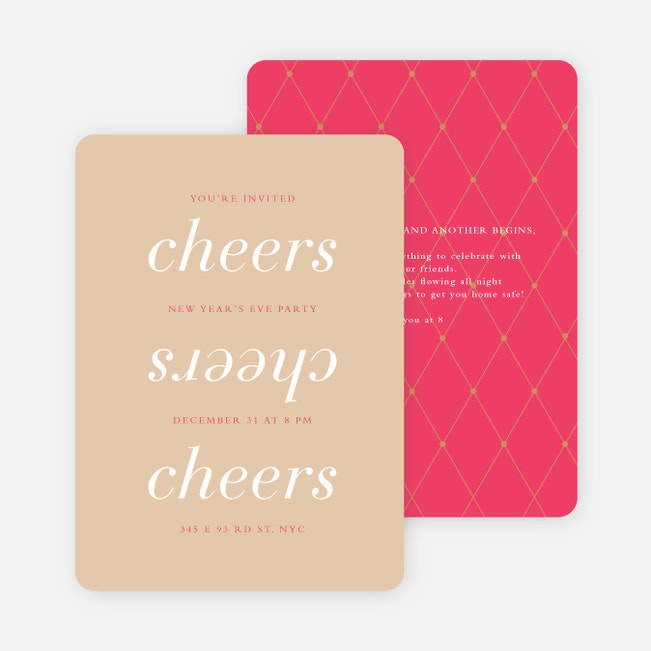 Three Cheers For The New Year Party Invitations Paper Culture