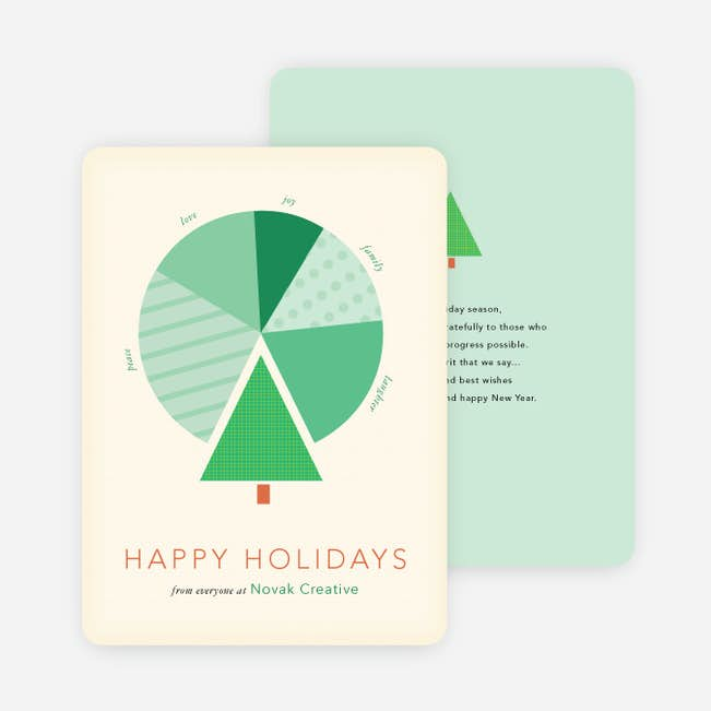 tree pie chart for business holiday cards paper culture