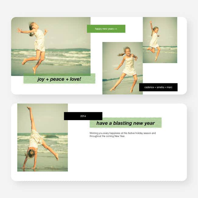 New Year's Tags Photo Cards - Green