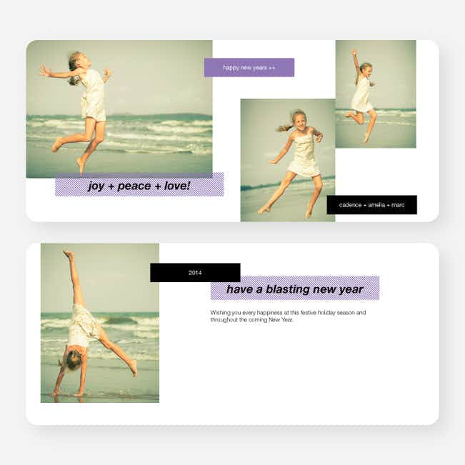 New Year's Tags Photo Cards - Purple