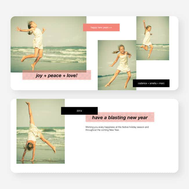 New Year's Tags Photo Cards - Red