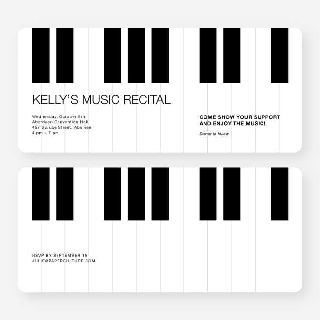 Piano Recital and Performance Invitations - Black