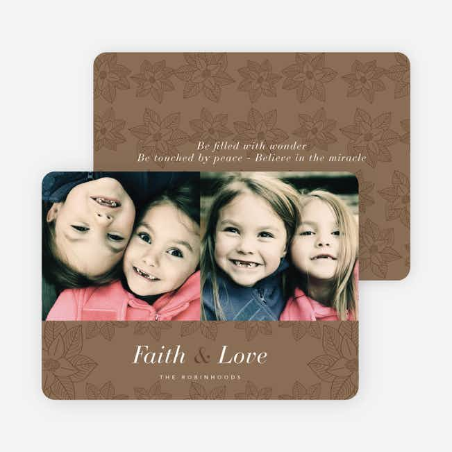 Poinsettia Holiday Cards - Brown