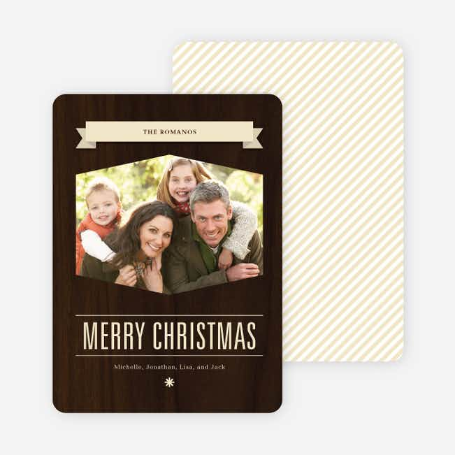 Classic Banner Holiday Photo Cards - Latte