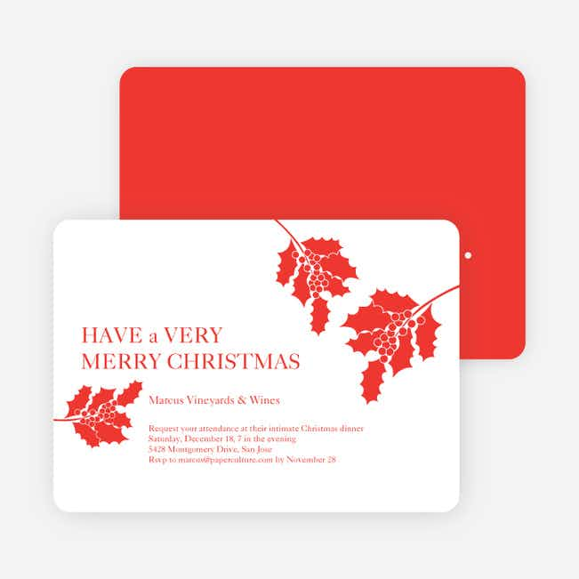 Holly Holidays Holiday Party Invitations - Salmon