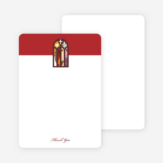 Note Cards: 'Stained Glass Christening Card' cards. - Red