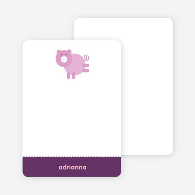 Personal Stationery for Little Piggy Modern Birthday Party Invitation - Lilac