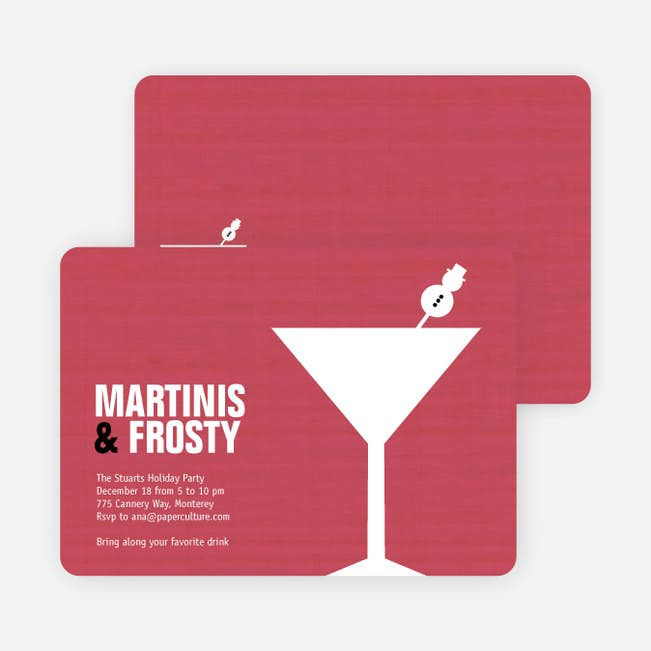 snowman martini holiday party invitations paper culture