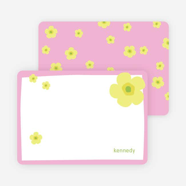 Stationery: 'Flowers' cards. - Bubble Gum Pink