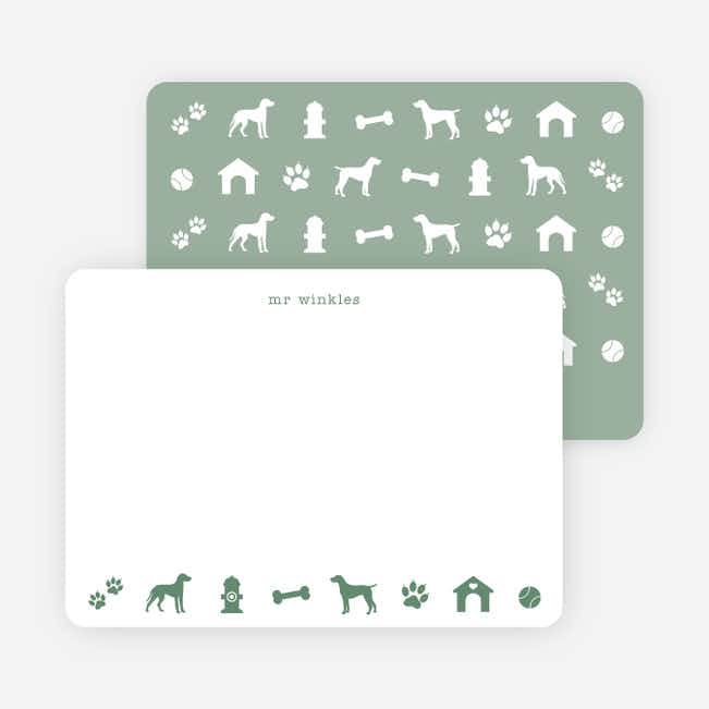 Adorable Dog Stationery - Green