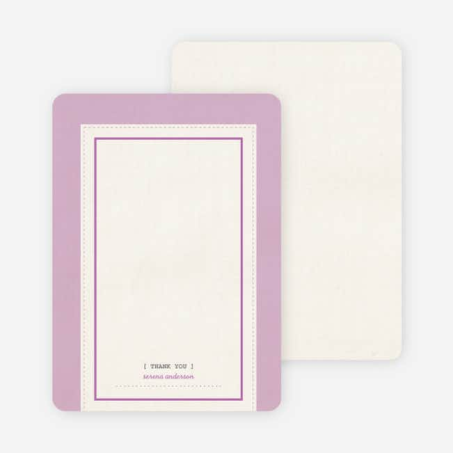 Baby Ticket Matching Thank You Cards - Lavender