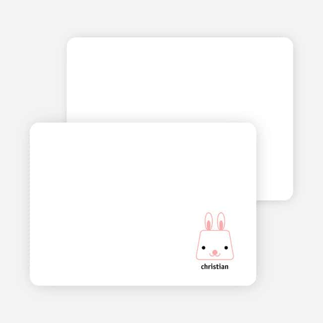 Little Baby Rabbit Stationery - Carnation
