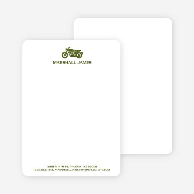 Motorcycle Personalized Stationery and Notecards - Khaki