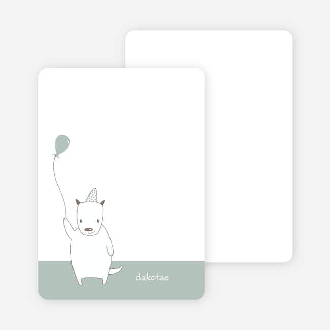 Note Cards: 'Dog Themed Photo Invitation' cards. - Dusty Green