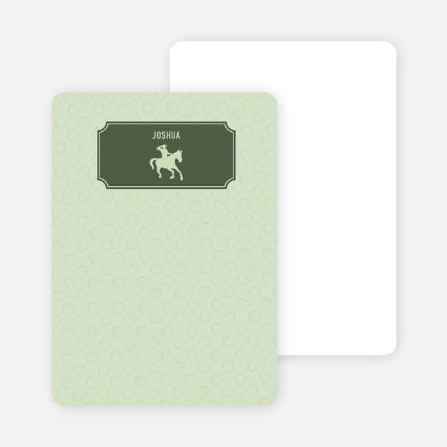 Note Cards: 'Ride 'Em Cowboy' cards. - Hunter Green