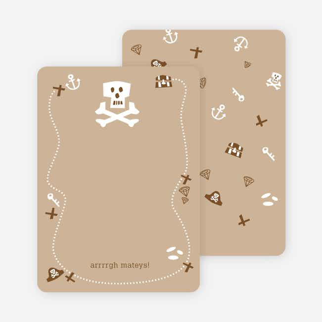Personal Stationery for Brown Pirate Modern Birthday Invitation - Latte