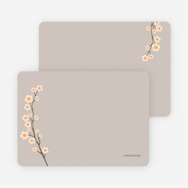 Personal Stationery for Cherry Blossom Modern Baby Announcement - Peach