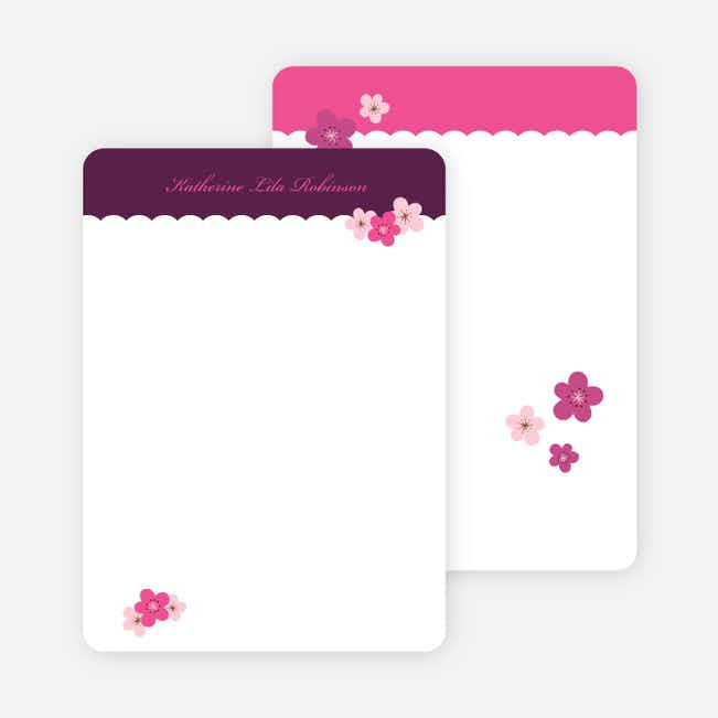 Personal Stationery for Rustic Floral Photo Baby Announcement - Grape