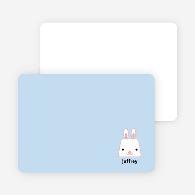 Rabbit Stripe Stationery and Note Cards - Blue Garden
