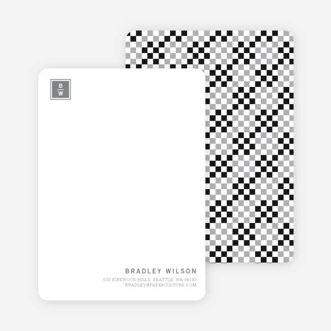 Square Block Initials Stationery - Obsidian