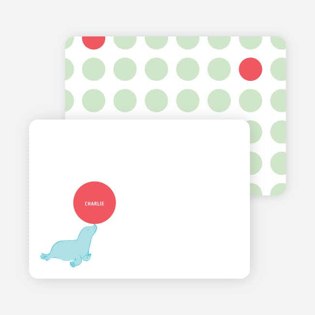 Stationery: 'Sammie Seals' cards. - Celery