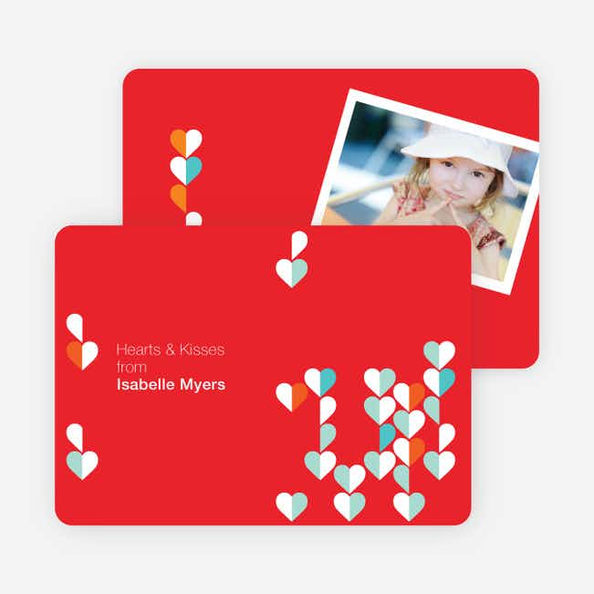 Dangling Hearts Valentines Day Photo Cards - Tomato
