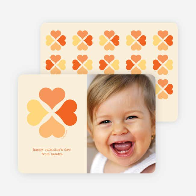 Four Heart Clover for Valentine's Day - Tangerine