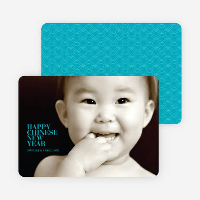 Happy Chinese New Year Simple, Modern Photo Card - Turquoise