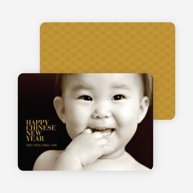 Happy Chinese New Year Simple, Modern Photo Card - Ginger