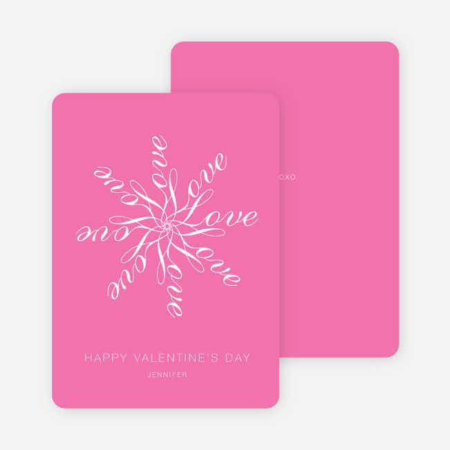 Love Flower Personalized Note Cards - Princess Pink