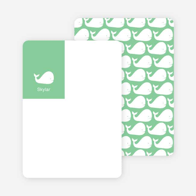 Moby Dick Whale Stationery with Personal Photo - Mint Green