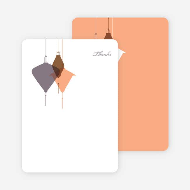 Note Cards: 'Lantern Lights Bridal Shower' cards. - Mauve