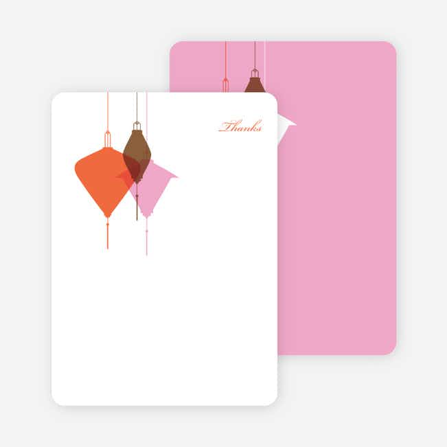 Note Cards: 'Lantern Lights Bridal Shower' cards. - Carrot Orange