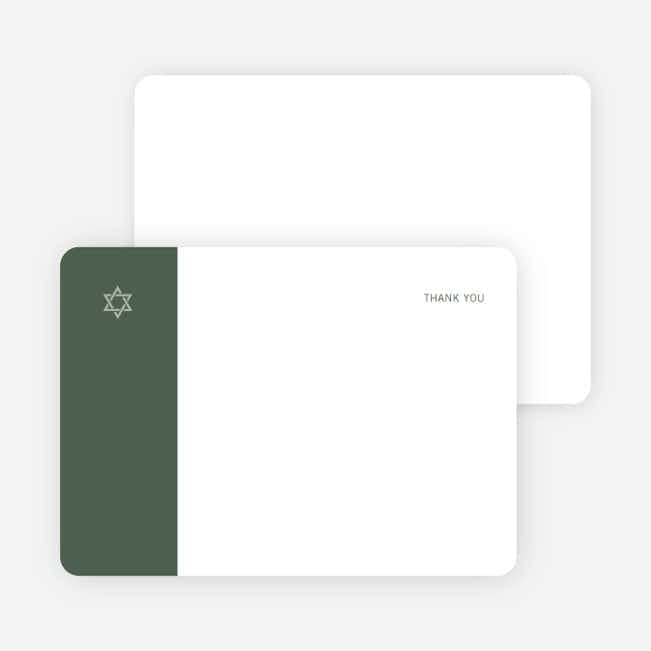 Note Cards: 'Simple Essence Star of David' cards. - Olive Green
