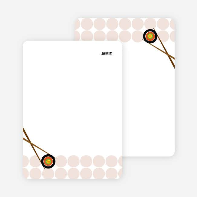 Note Cards: 'Sushi Party Yummm!' cards. - Dusty Rose