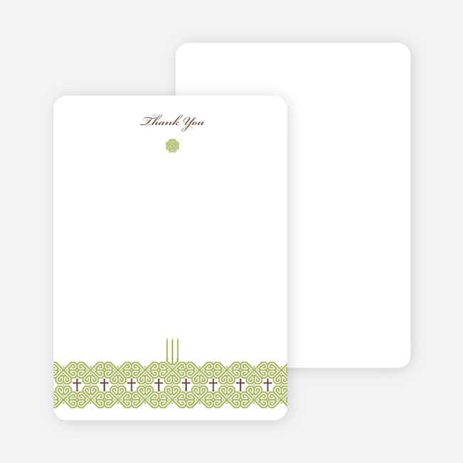Notecards for the 'Elegant Candle Baptism Invitation' cards. - Olive Green