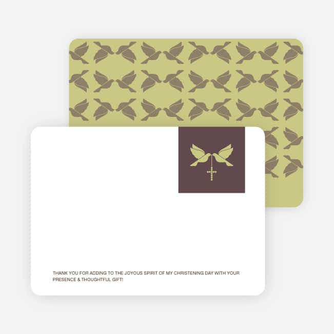 Stationery: 'Dove and the Holy Spirit Baptism' cards. - Greenish Yellow