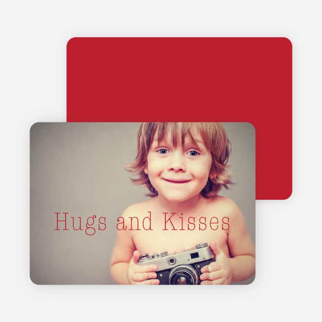 Hugs & Kisses Valentine's Day Cards - Red