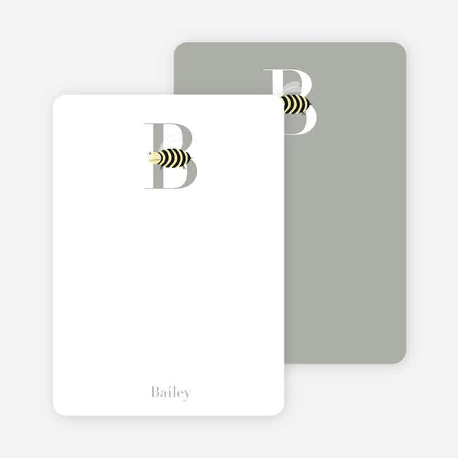 Alphabet Animals B Bee Monogram Stationery - Buttercup