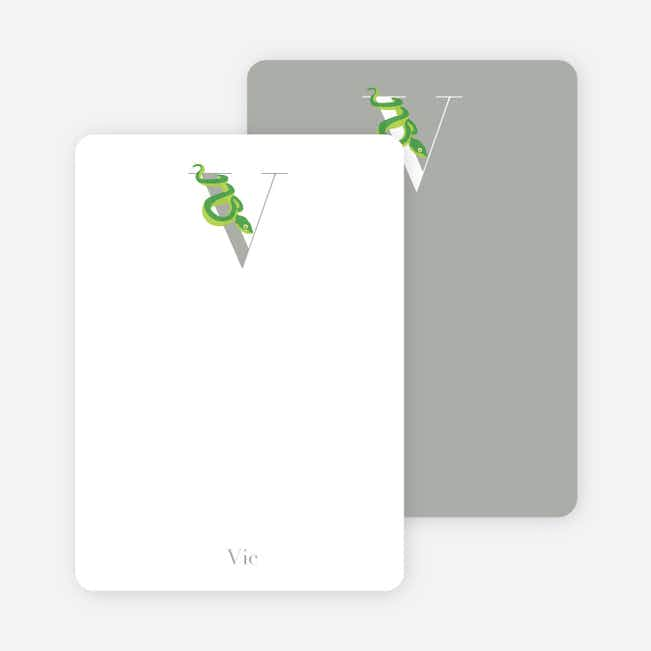 Alphabet Animals V Viper Monogram Stationery - Jade Green