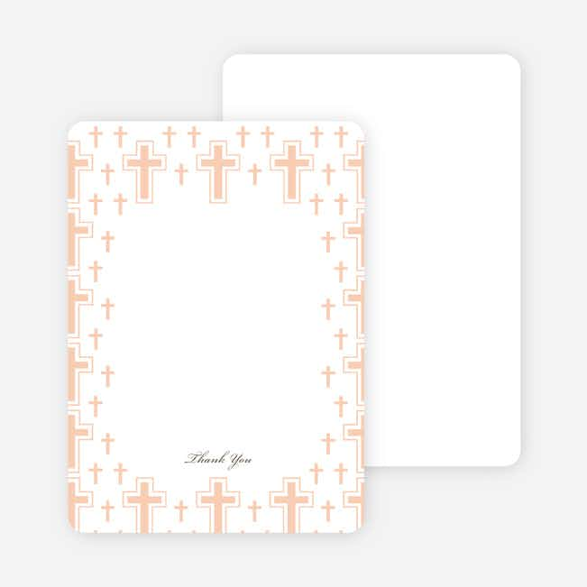Note Cards: 'Light of the Cross Baptism Invitation' cards. - Grayish Pink