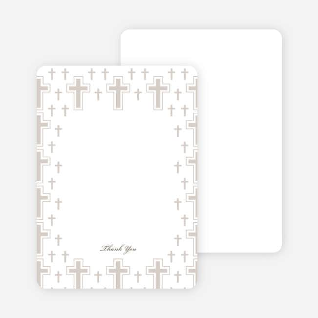 Note Cards: 'Light of the Cross Baptism Invitation' cards. - Gray