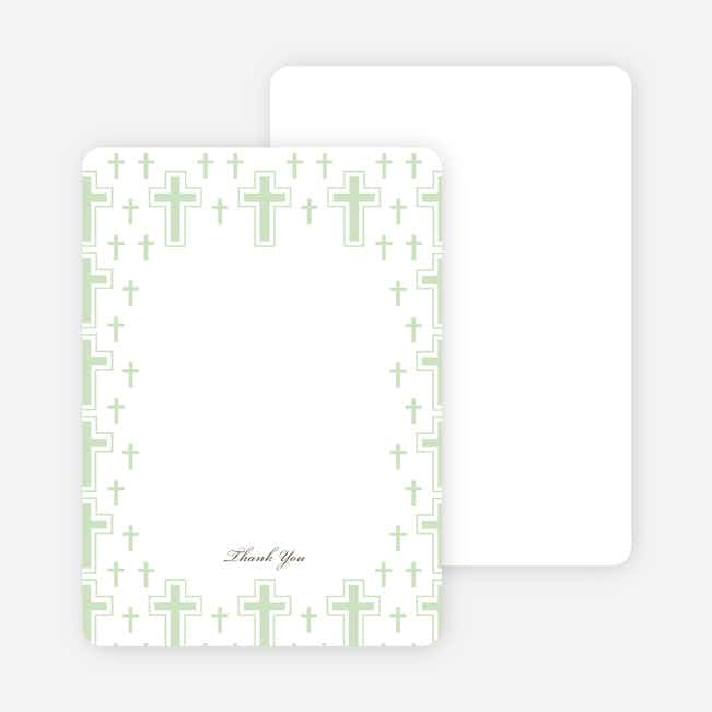 Note Cards: 'Light of the Cross Baptism Invitation' cards. - Pale Green