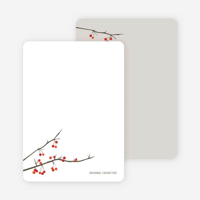 Stationery: 'Winter Berries' cards. - White
