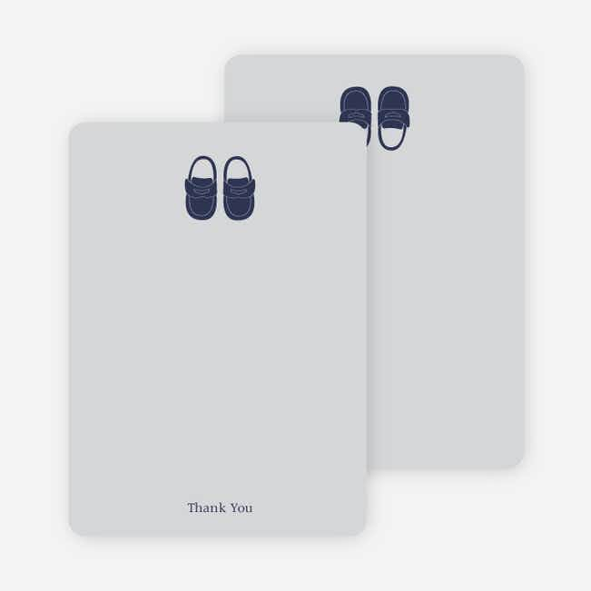 Thank You Card for Boys' Shoes Modern Baby Announcement - Silver Grey