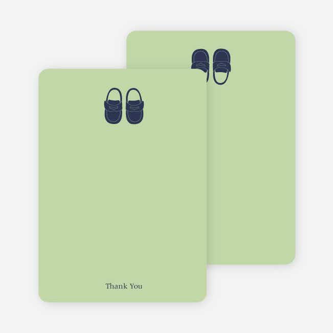 Thank You Card for Boys' Shoes Modern Baby Announcement - Celadon