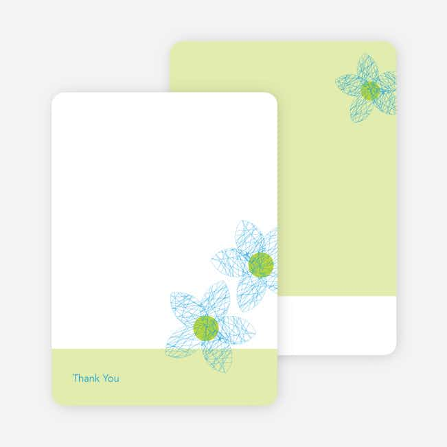 Thank You Card for Spriograph Flowers Bridal Shower Invitations - Cornflower